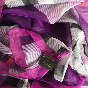 Burberry 100% Silk Purple Long Scarf Made in Italy